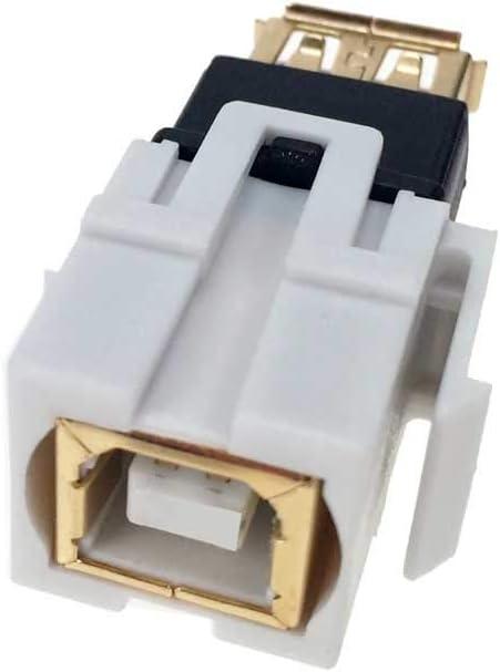 NavePoint USB 3.0 B Female to Female Keystone Adapter White 25-Pack