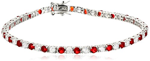 January Birthstone Bracelet (Sterling Silver Alternating Ruby and White Prong Set AAA Cubic Zirconia Tennis Bracelet, 7.5