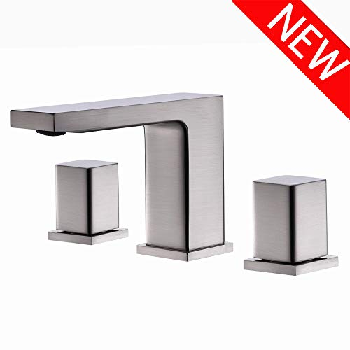(VCCUCINE Contemporary 3 Holes Double Handles Stainless Steel Widespread Brushed Nickel Bathroom Faucet, Lavatory Vanity Vessel Sink Faucet With Hoses )