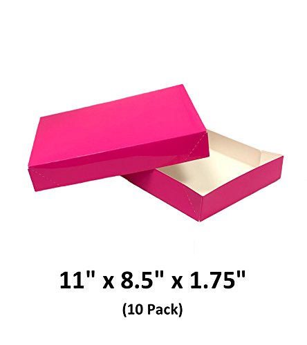 Hot Pink Apparel Decorative Gift Boxes with Lids for Clothing and Gifts 11x8.5x1.75 (10 Pack) | MagicWater -