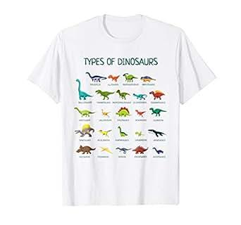 6271c756c Amazon.com: Types Of Dinosaurs T-Shirt Cute Dinosaur Tee: Clothing