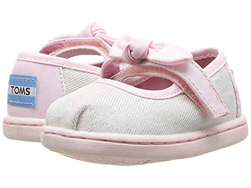 TOMS Kids Baby Girl's Mary Jane (Toddler/Little Kid) White Iridescent Twill Glimmer 6 M US Toddler -