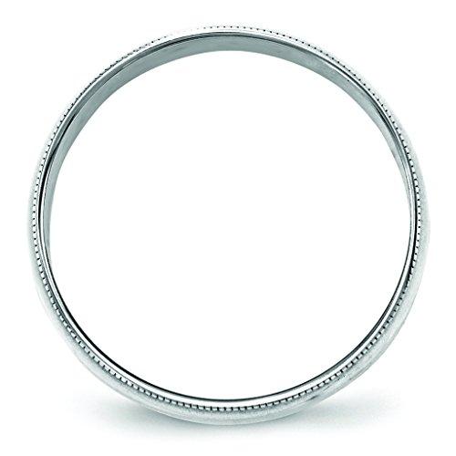 14K White Gold 5mm Lightweight Half Round Domed Milgrain Wedding Band