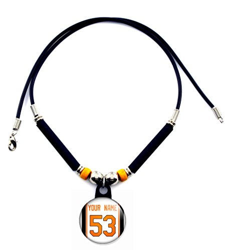 SpotlightJewels Baltimore Personalized Baseball Jersey Necklace with Your Name and ()
