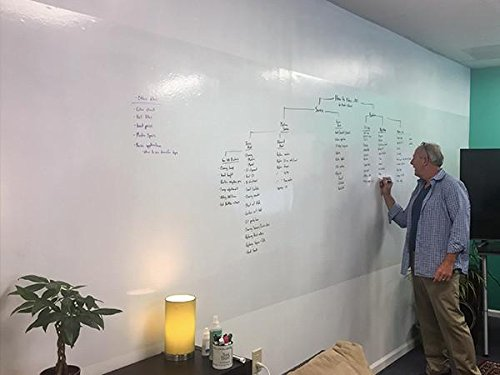 Think Board Custom Size Peel & Stick Premium Dry Erase Whiteboard (w/Customizable Sizing Options) - 4' H x ''CUSTOM LENGTH'' W (Up to 24' Wide) by Think Board