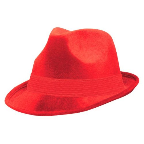 Amscan Suede-Like Finish Velour Fedora Hat with Matching Color Hatband Costume Party Headwear, Red, Fabric, 5