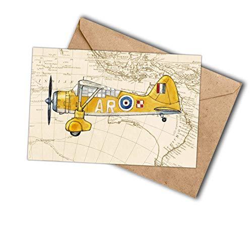 Yellow biplane on Map postcard Westland Lysander ()
