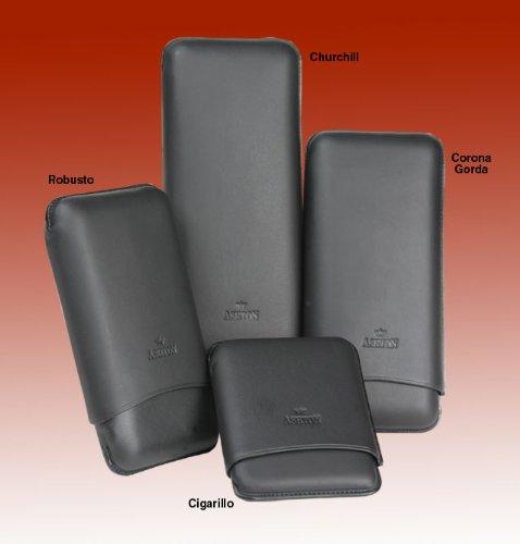Ashton Leather Case Black Smooth - Robusto Ashton Leather
