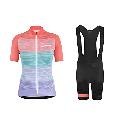 Comp 7 Bibs - Uglyfrog 2018 Women's new Full-Zip Short Sleeve Cycling colorful Jersey +bib short pants suits USDXTZYSB09