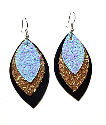Faux Leather Lightweight Earrings by Designer Hooked Boutique (Black, Gold, Light Blue with sparkles) ()