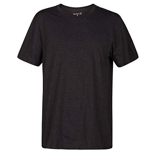 Hurley Men's Premium Cotton Staple Short Sleeve Tee Shirt, Black Heather, L from Hurley