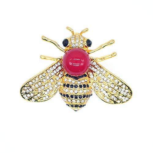 TULIP LY Honey Bee Brooches Crystal Insect Themed Bee Brooch Animal Fashion Shell Pearl Brooch Pin Gold Tone (Red Pearl)