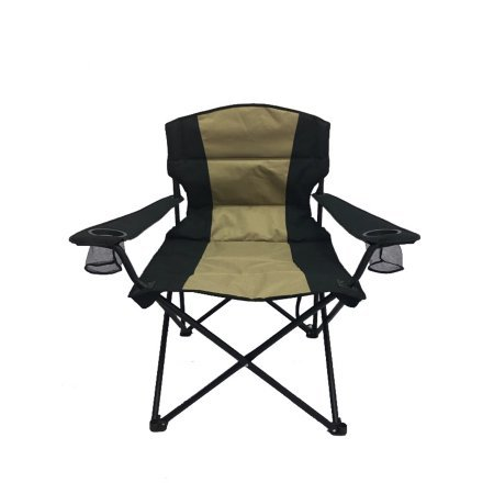 OZARK TRAIL BIG AND TALL CHAIR,With 2 Oversize Built-in Cup Holder,Universal Umbrella Holder,Extra-Wide Seat with Padded Back and Seat,Carry Strap and Carry Bag for Easy Transportation,Black