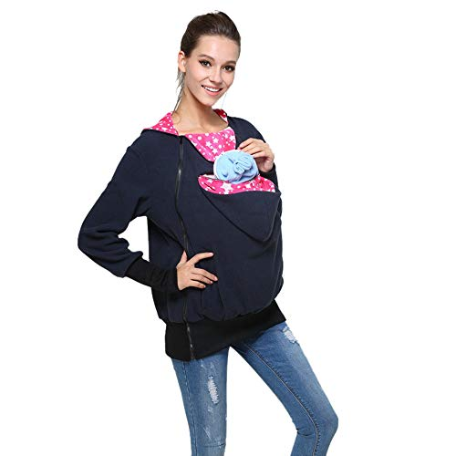 (Womens Maternity Kangaroo Hooded Sweatshirt for Baby Carriers (L, Navy/Red Stars))