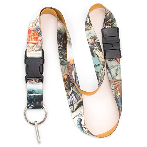(Buttonsmith Alice in Wonderland Breakaway Lanyard - with Buckle and Flat Ring - Made in The USA)