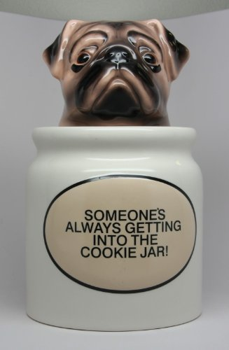 Cute Pug Puppy Cookie Jar Food Container Kitchen Accessory