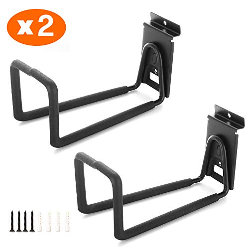 Slatwall Hose Hooks, Heavy Duty Garage Storage Utility Tool Double Holder Bike Hanger Organizer for Bicycle Ladder and Folding Chairs (2 Pack, Black)