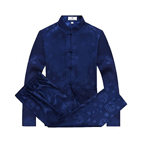ZooBoo Mens Martial Arts Kung Fu Uniform Long Sleeve Tang Suit With Dragon Pattern (Royal Blue, (Silk Uniform)