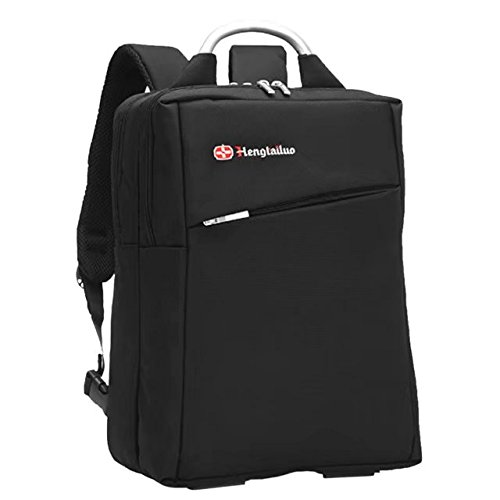 Vrcoco 15 inch Shoulder Notebook Computer Bag Casual Backpack Nylon Water-Resistant Laptop Bag Multifunctional Luggage Travel Bags(1 pc,Black)