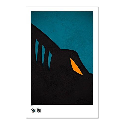 San Jose Sharks - Minimalist NHL Logo Art Poster Print (11X17 Inches)