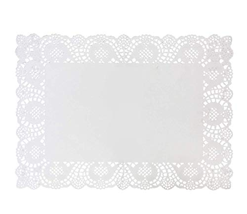 100 Pcs 17.6'' x 12.6'' White Rectangle Lace Paper Doilies Paper Placemats for Wedding Tea Party, Baking and Tableware Decorations