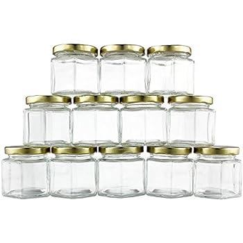 4-Ounce Hexagon Glass Jars (12-Pack), One Dozen 4 Oz Hex Jar Bulk for Party Favors, Preserves, Spices & Kitchen Storage