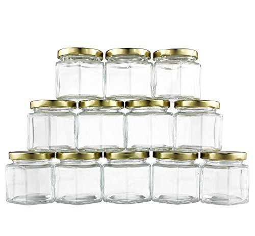 4-Ounce Hexagon Glass Jars (12-Pack); Empty Hex Jars w/ Gold Lids for Party Favors, Jams, Samples & More