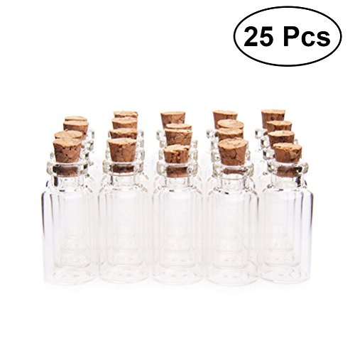 WINOMO 25 Pcs Clear Small Mini Glass Jars with Cork Stoppers DIY Wish Bottles For Message Weddings Wish Party Favors 18x40mm