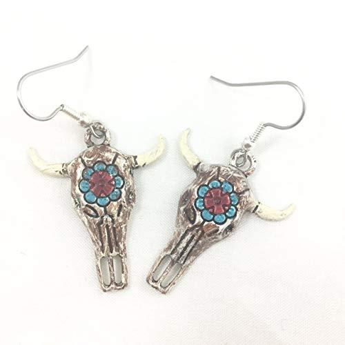 Enamel Cow Charm - Hand-painted Southwestern Longhorn Skull Charm Earrings