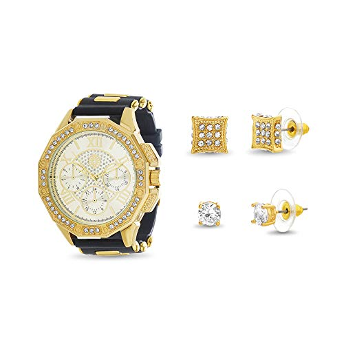 Akademiks Men's Watch with Square Stud Earring Black and Yellow (Yellow) from Akademiks
