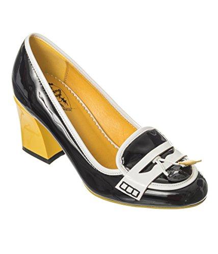 Bekleidung Schuhe 50er Vintage Leben Verbotene auf Lust Heels Jahre Schwarz Gelb Retro wxFpdgTZ