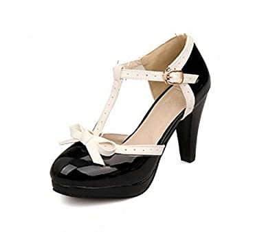 Lucksender T Strap Bows Womens Platform High Heel Pumps Shoes