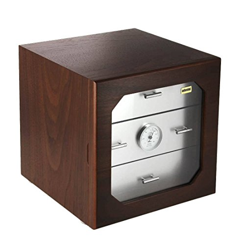 Deluxe Walnut Cube - None Chianti m Deluxe Walnut and Aluminium humidor
