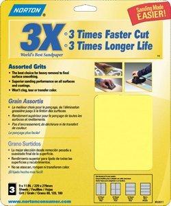 Norton 07660702624 320-grit 3x High Performance Bulk Sandpaper, 9 inchx11 inch (Pack of 100)