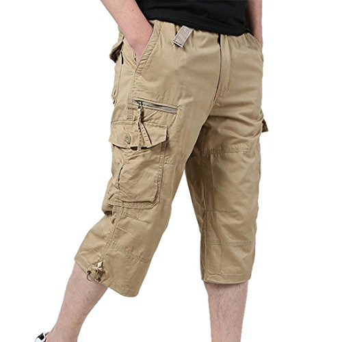 Macys Mens Ties (iZHH Summer Male Loose Baggy Pants Casual Loose Stretch Cropped Pants Overalls(Khaki,34))