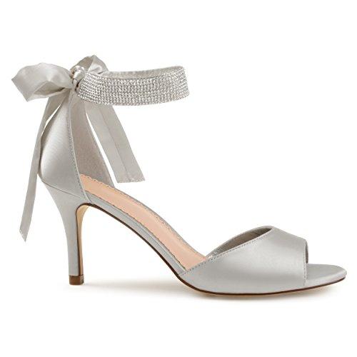 Open High Satin Ankle Co toe Strap Rhinestone Grey Heels Belvie Brinley wnxfqpTF