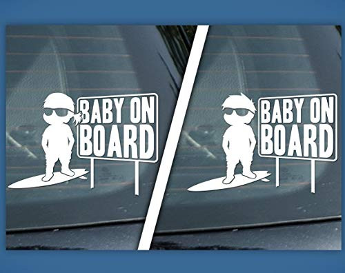 (CELYCASY Sticker Baby on Board surf Board Sign, Surfer BOY or Surfer Girl, car Decal, Baby on surf Board, Surfing Sticker)