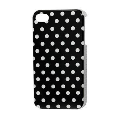 eDealMax De plástico Duro Puntos blancos Negro IMD cubierta trasera del Protector Para el iPhone 4