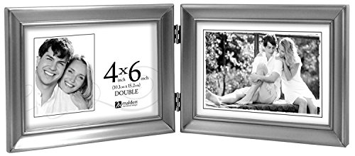 Malden International Designs Concourse Pewter Metal Hinged Picture Frame, Double Horizontal, 2-4x6, Silver