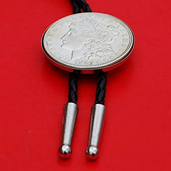 US 1921 Morgan Dollar 90/% Silver Coin 36 Red Leatherette Cord Bolo Tie NEW