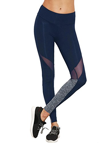 SweatyRocks Women's Stretchy Skinny Sheer Mesh Insert Workout Leggings Yoga Tights Navy (Skinny Mesh)