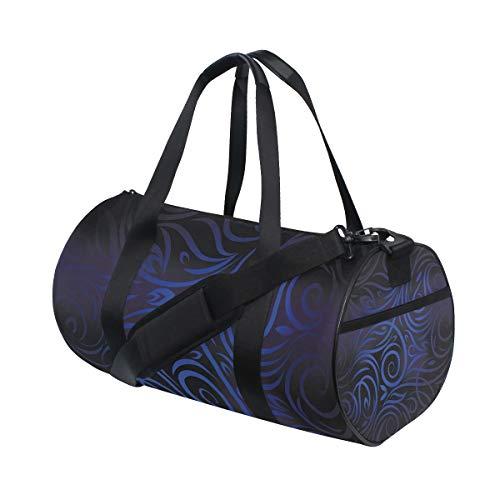 LONSANT Antique Victorian Swirled Natural Floral Art Pattern Vignette Effect Barrel Duffel Bag Sports Yoga Gym Fitness Bag Travel Weekender Bags for Men and Women