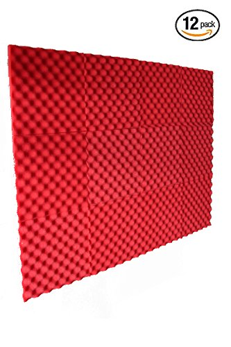 12 Pack Red Slim Convoluted Egg crate Acoustic Foam Padding - Enhance Sound Quality by Absorbing Noise and Echoes