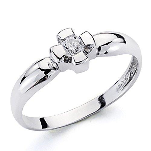 Bague solitaire 18k or blanc brillant diamant 0.1ct commandé [AA7255]