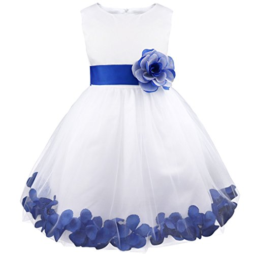 (iiniim Girls Petals Tulle Princess Wedding Pageant Party Flower Girl Dress White Purple 2)