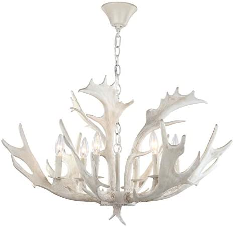 Safavieh CHA4003A Lighting Collection Birch 30 Antler White Chandelier
