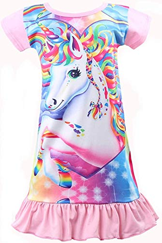 (Rswsp Unicorn Printed Toddler Girls Rainbow Nightshirt Casual Nightie Princess Night Dresses (Big Eyes-Baby Pink, M(5)/L(6)))
