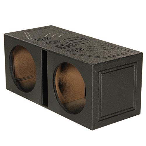 Q Power Dual 8 Inch Vented Port Subwoofer Sub Box with Bedliner Spray (2 Pack) (Q Power 8 In Subwoofer)