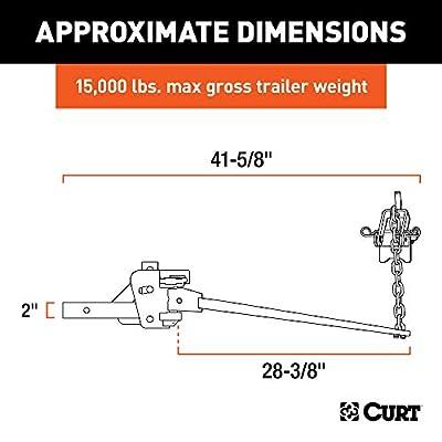 CURT 17333 Short Trunnion Bar Weight Distribution Hitch, 15,000 lbs. GTW, 2-Inch Shank: Automotive