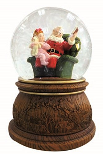 MusicBox Kingdom Snow Globe with a Rotating Scene with Santa Reading to a Small Girl Sitting on His Lap Plays a Christmas Melody Decorative Item by Musicbox Kingdom (Image #1)